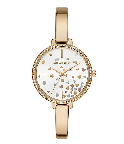 Michael Kors Jaryn Heart Dial 3-Hand Goldtone Stainless Steel Bracelet Watch