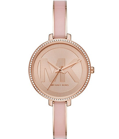 Michael Kors Jaryn Three-Hand Rose Gold-Tone Stainless Steel Glitz Ring Dial Watch