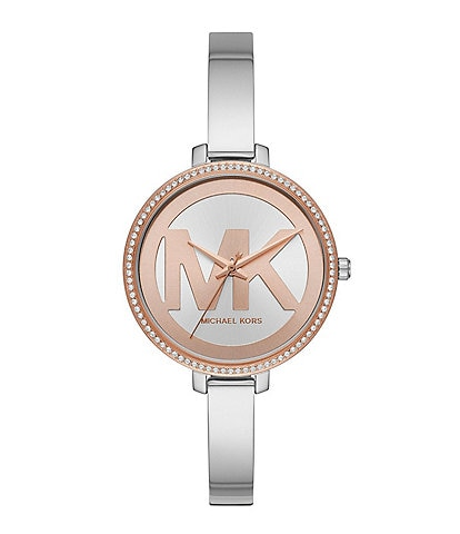 Michael Kors Jaryn Three-Hand Stainless Steel Two Tone Dial Watch