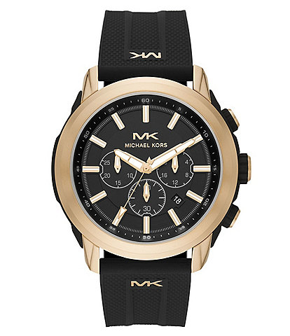 Michael Kors Kyle Stainless Steel Case Chronograph Black Silicone Watch