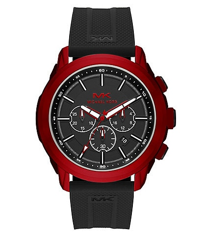 Michael Kors Kyle Red Stainless Steel Case Chronograph Black Silicone Watch