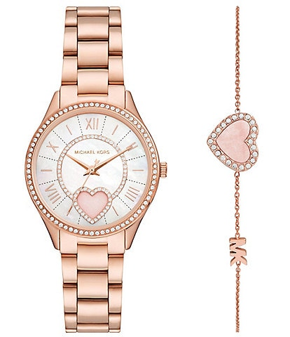 Michael Kors Lauryn Three-Hand Rose Gold-Tone Stainless Steel Watch and Bracelet Set