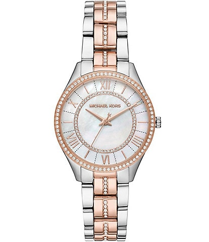 Michael Kors Lauryn Two Tone MOP Dial 3-Hand Bracelet Watch