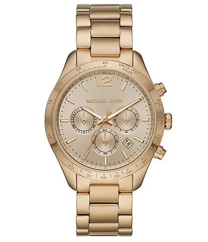 Michael Kors Layton 42mm Chronograph Gold-Tone Pave Stainless Steel Watch