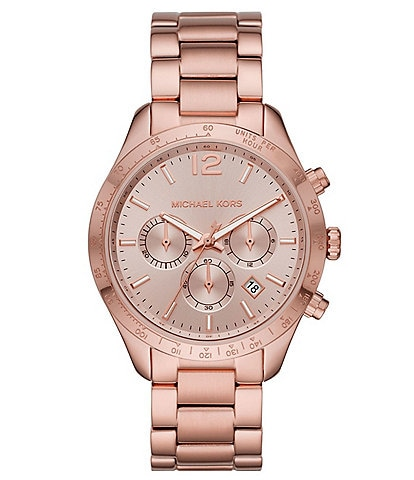 Michael Kors Layton Chronograph Pale Rose Gold-Tone Stainless Steel Watch