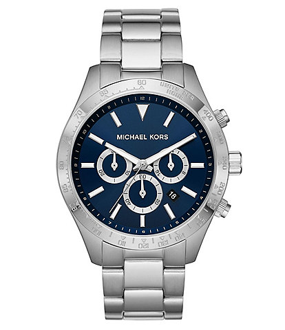 Michael Kors Layton Chronograph Stainless Steel Navy Blue Dial Watch