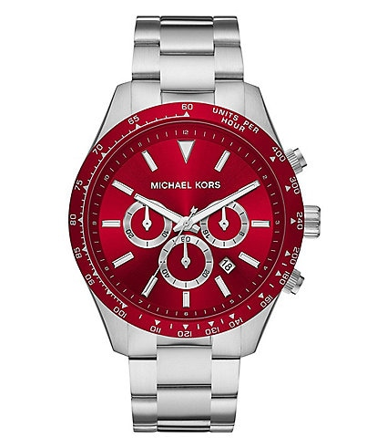 Michael Kors Layton Chronograph Stainless Steel Red Dial Watch