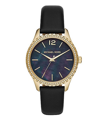 Michael Kors Layton Three-Hand Black Leather Watch