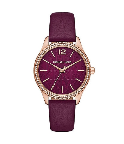 Michael Kors Layton Three-Hand Dark Berry Leather Watch