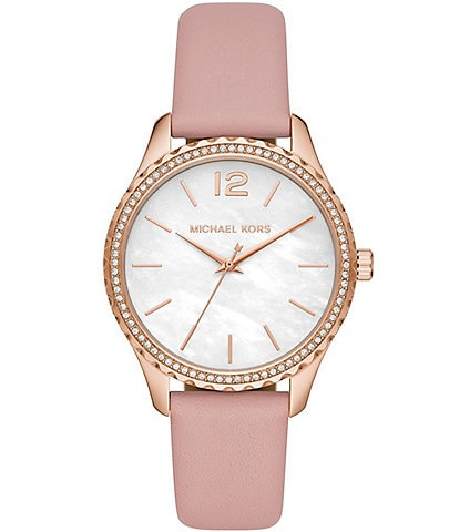 Michael Kors Layton Three-Hand Powder Blush Leather Watch