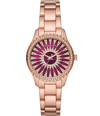 Michael Kors Layton Berry Fan Dial Three-Hand Rose Gold-Tone Stainless Steel Watch