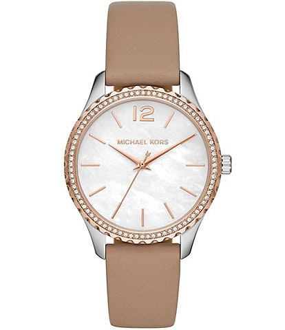 Michael Kors Layton Three-Hand Truffle Leather Watch
