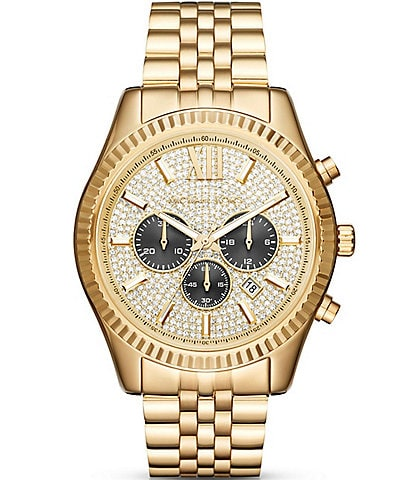 Michael Kors Lexington Pav-Dial Chronograph & Date Bracelet Watch