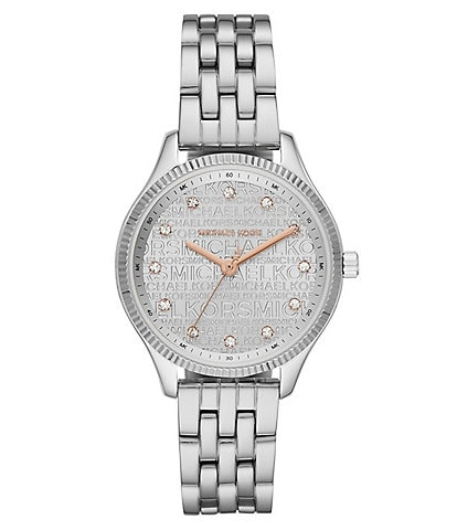 Michael Kors Lexington Signature Three-Hand Stainless Steel Watch