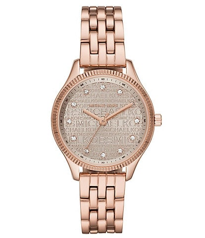 Michael Kors Lexington Three-Hand Rose Gold-Tone Stainless Steel Watch