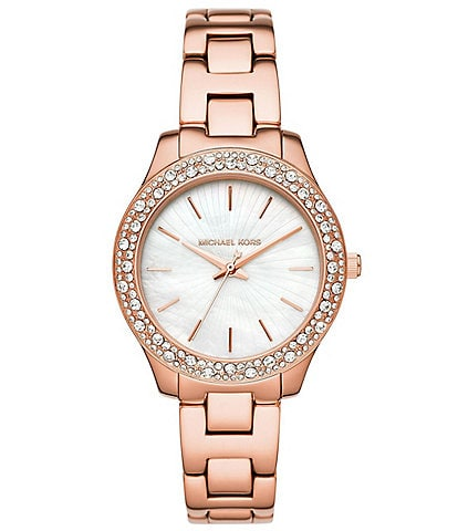 Michael Kors Liliane Three-Hand Rose Gold-Tone Watch