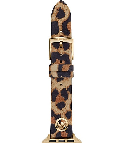 Michael Kors Logo Charm Animal Print Leather 38/40mm Apple Watch® Band
