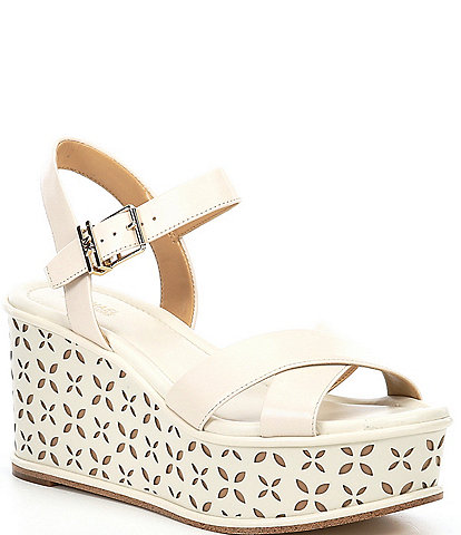 Michael Kors Melina Cut-Out Leather Wedge Sandals