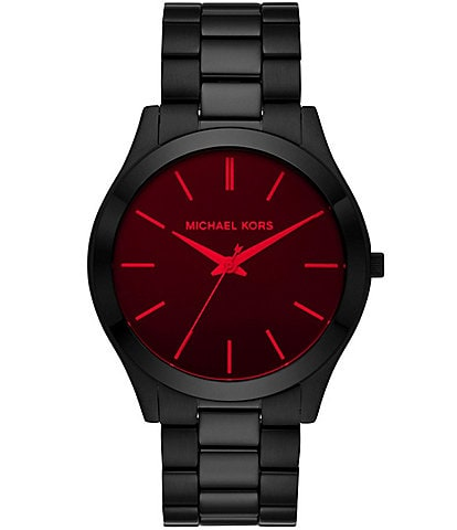 Michael Kors Men's Slim Runway Three-Hand Black Stainless Steel Watch