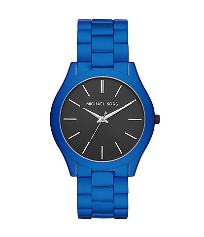 Michael Kors Men's Slim Runway Three-Hand Blue Coated Stainless Steel Watch