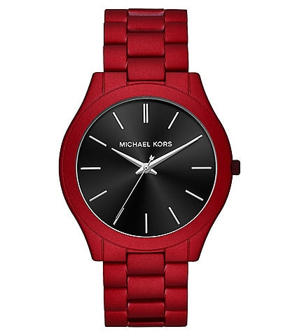 4f12c875ec9b Michael Kors Men s Slim Runway Three-Hand Red Coated Stainless Steel Watch
