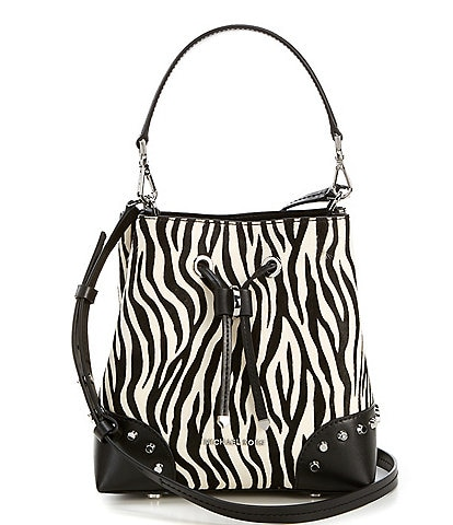 Michael Kors Mercer Gallery Small Convertible Zebra Bucket Shoulder Bag
