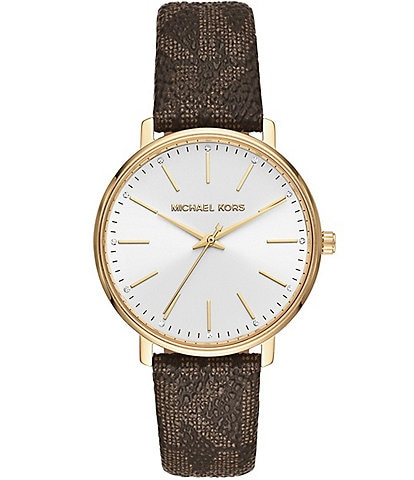 Michael Kors Women's Pyper Three-Hand Brown PVC Logo Strap Watch