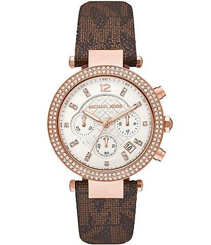 Michael Kors Parker Chronograph Brown PVC Watch