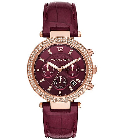 Michael Kors Parker Chronograph Red Leather Watch