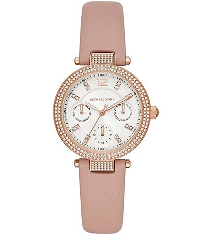 Michael Kors Parker Multifunction Blush Leather Watch