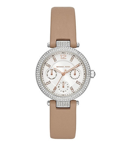 Michael Kors Parker Multifunction Truffle Leather Watch