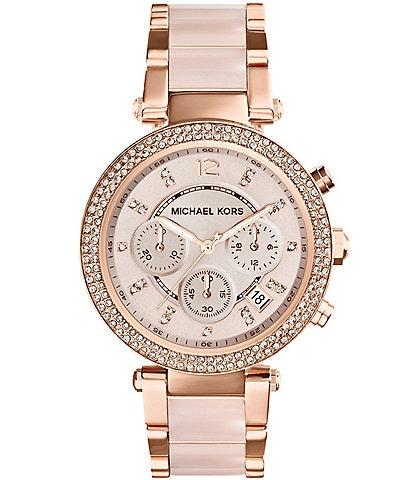 Michael Kors Parker Rose Gold Tone & Blush Chronograph Watch