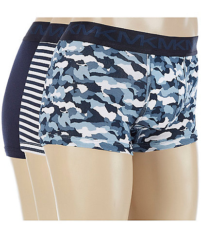 Michael Kors Performance Cotton Assorted Blue Trunks 3-Pack
