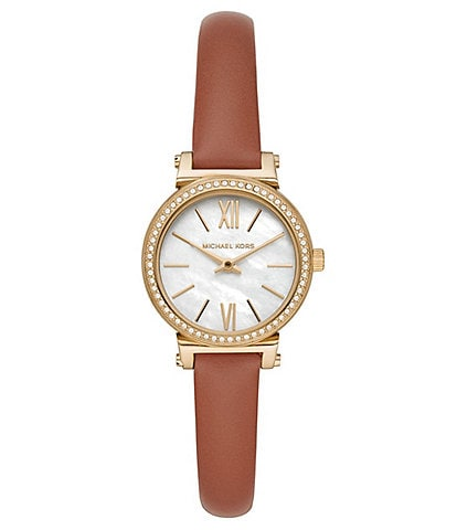 Michael Kors Petite Sofie Two-Hand Luggage Leather Watch