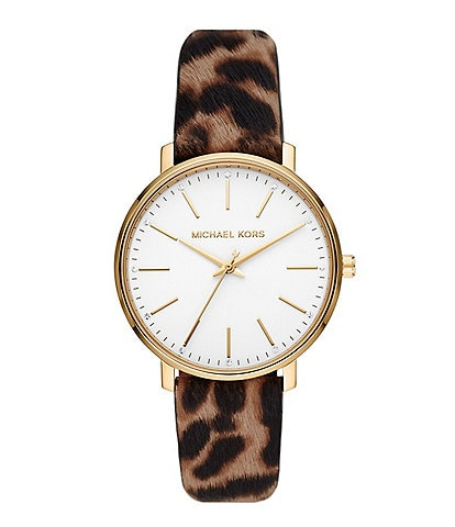 Michael Kors Pyper Three-Hand Cheetah-Print Leather Strap Watch