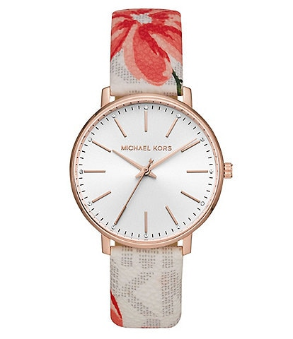 Michael Kors Pyper Three-Hand Multicolor Floral Print Leather Watch