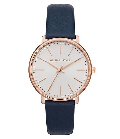 Michael Kors Pyper Three-Hand Navy Leather Watch