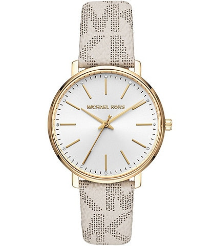 Michael Kors Pyper Three-Hand White PVC Logo Strap Watch
