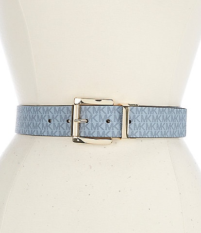 Michael Kors 1.25#double; Signature Logo to Smooth Solid Reversible Jean Belt