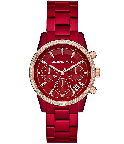 Michael Kors Ritz Chronograph Red Stainless Steel Watch
