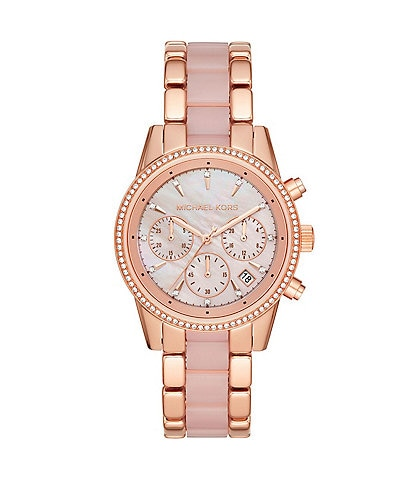 Michael Kors Ritz Chronograph Rose Gold Tone Stainless Steel Watch