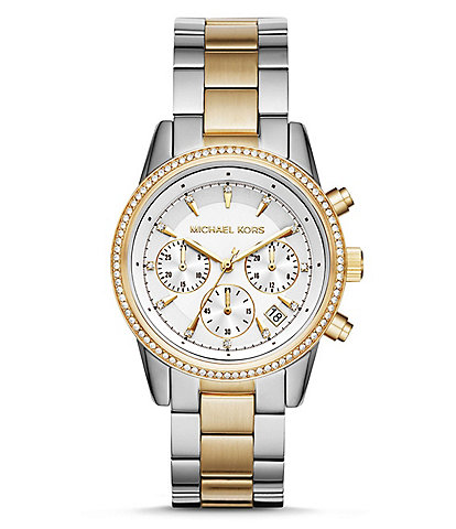 Michael Kors Ritz Chronograph & Date Two-Tone Bracelet Watch