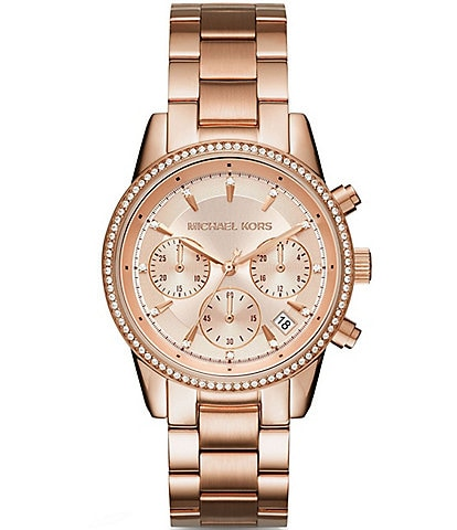 Michael Kors Ritz Pav Chronograph & Date Bracelet Watch