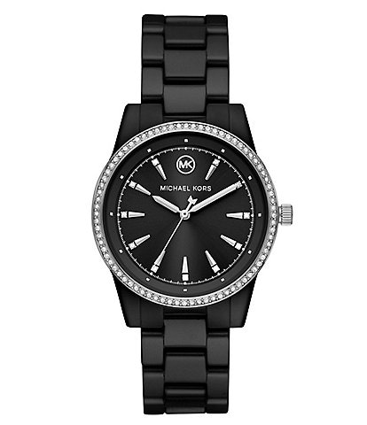 Michael Kors Ritz Three-Hand Black Ceramic Watch