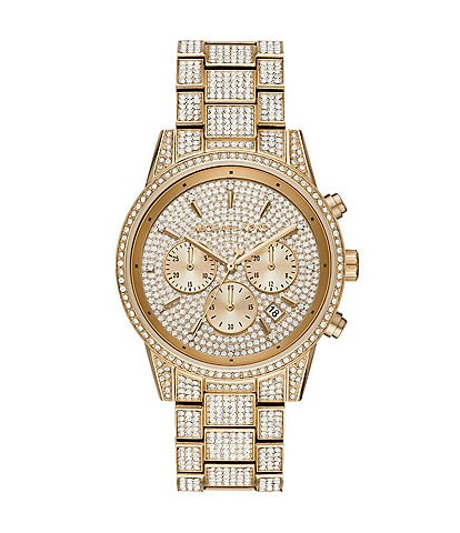 Michael Kors Ritz Three-Hand Glitz Gold-Tone Stainless Steel Watch
