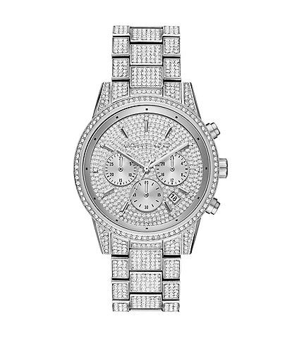 Michael Kors Ritz Three-Hand Silver Pave Stainless Steel Watch