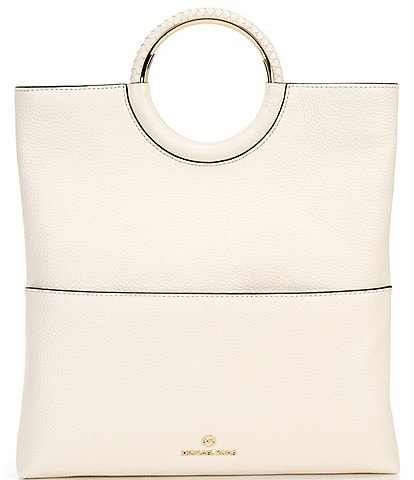 Michael Kors Rosie Large Pebble Leather Foldover Ring Clutch Bag
