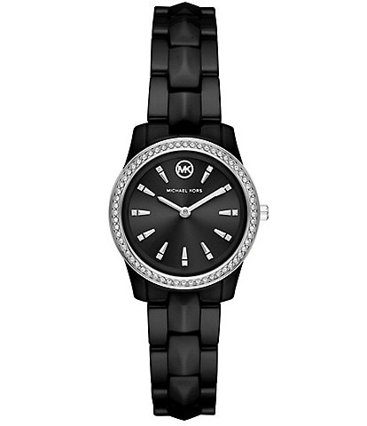 Michael Kors Runway Mercer Three-Hand Black Ceramic Watch