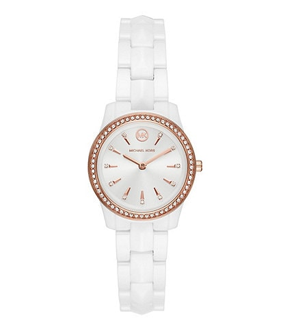 Michael Kors Runway Mercer Three-Hand White Ceramic Watch