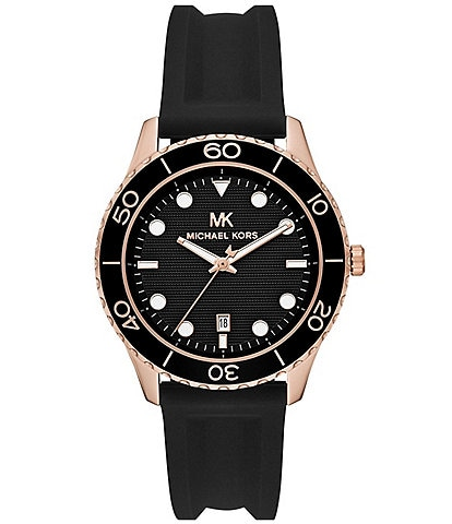Michael Kors Runway Three-Hand Black Silicone Watch